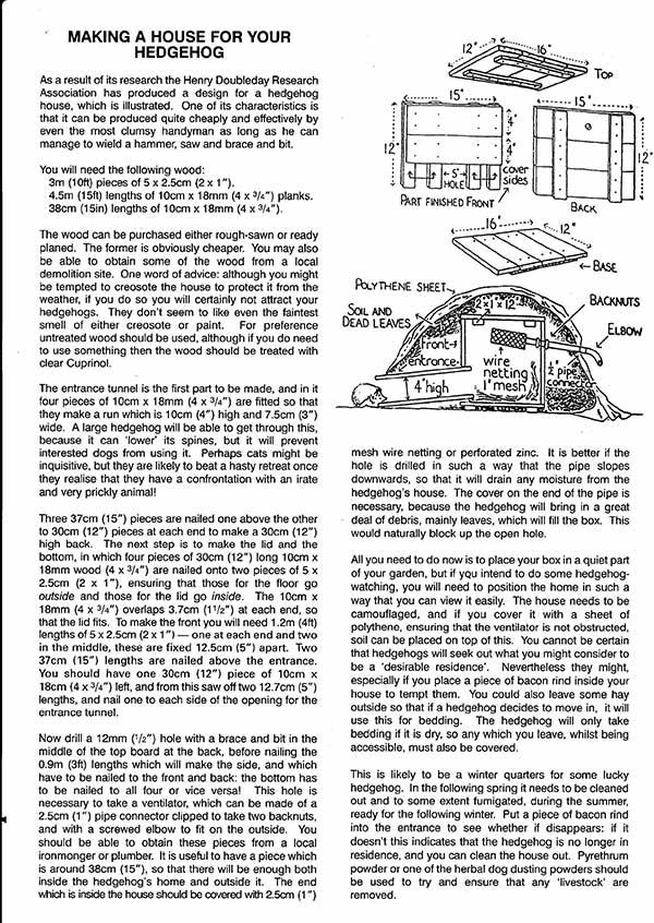 Hedgehog Care Rescue Sanctuary Hedgehog House Plan